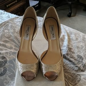 Jimmy Cho Champagne Peep Toe Heels